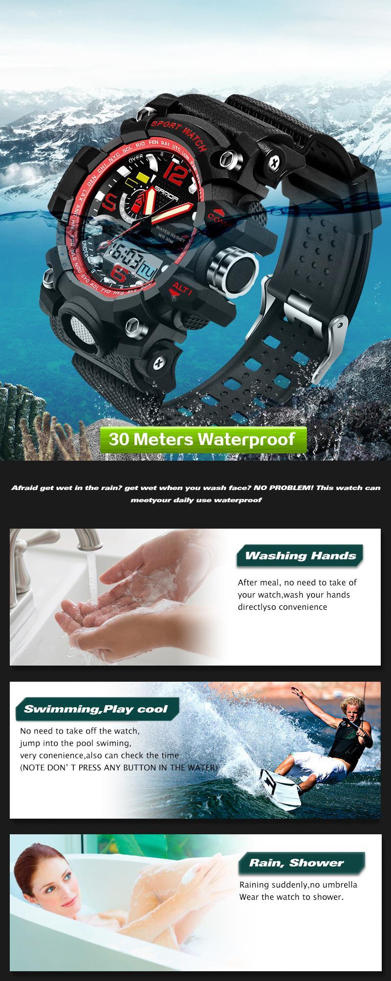 SANDA 732 Fashion LED Display Men Watch 30M Waterproof Sport Digital Watch
