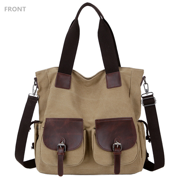 Women Men Canvas Durable Multi-Pocket Shoulder Bag Handbag