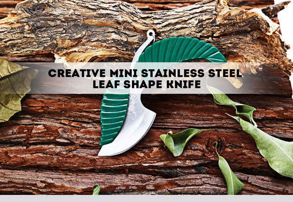Folding Creative Mini Stainless Steel Leaf Shape Portable Keychain Gift Tools