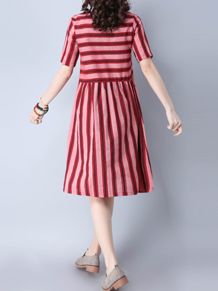 Women Vintage Striped Dresses Short Sleeve O-Neck A-Line Dress
