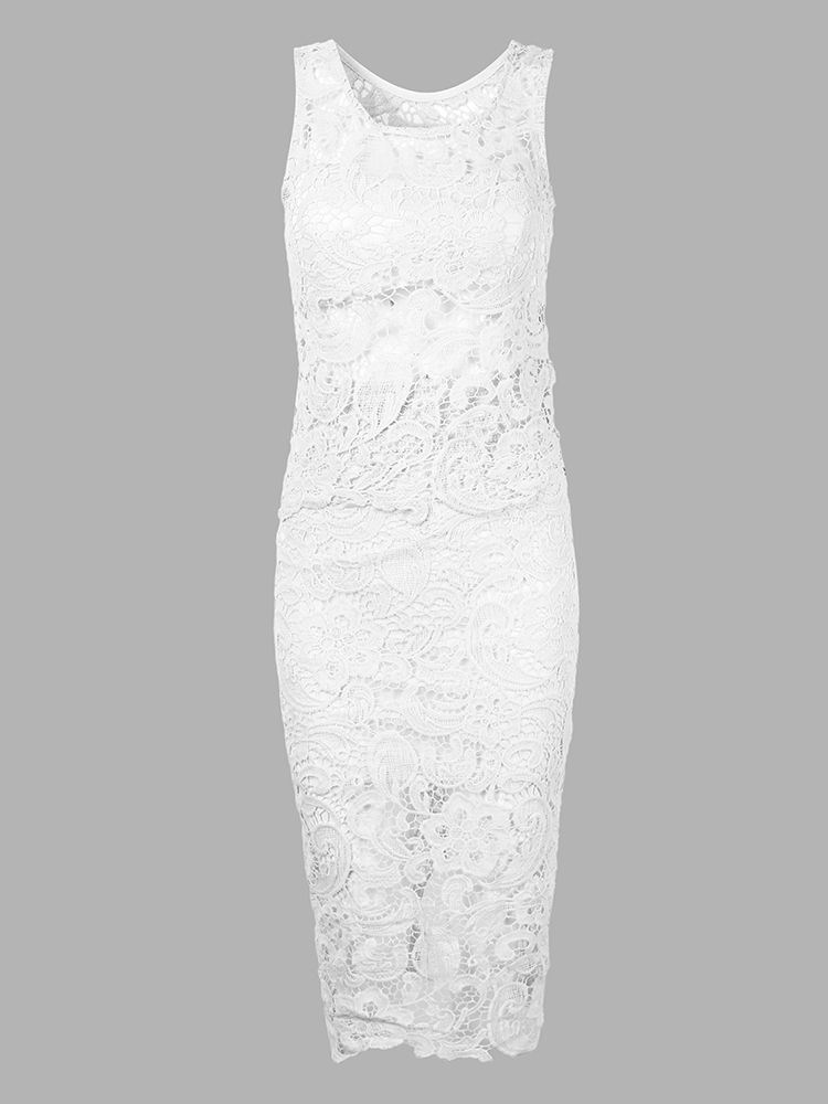 Sexy Women Lace Sleeveless Knee-Length Two Piece Dress