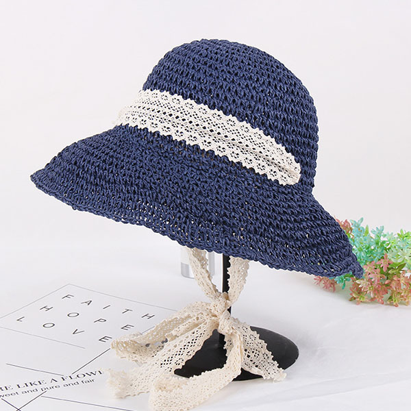 Women Summer Wide Brim UV Protection Beach Straw Hat Elegant Style Floppy Bucket Cap