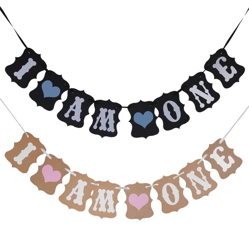 I AM ONE Bunting Garland Banner Baby Birthday Party Decoration