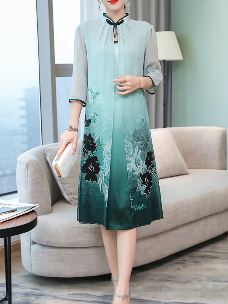 Elegant Floral Print Fake Two Pieces Vintage Dress
