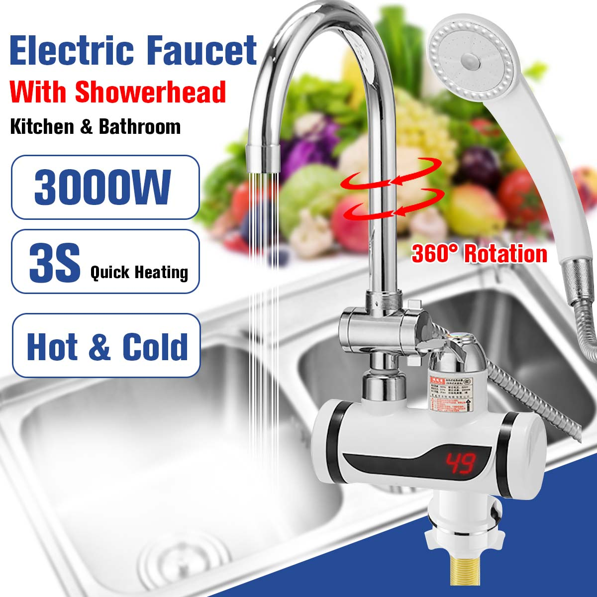 3000W Temperature Display Instant Hot Water Tap Faucet with Three Way Connector and Shower Head