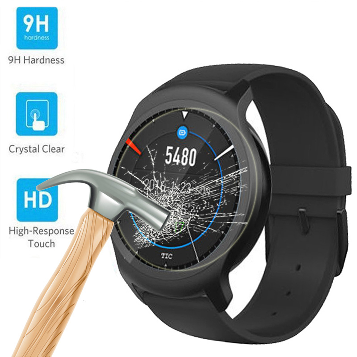 Tempered Glass Screen Guard Explosion Proof Protective Film Membrane For Ticwatch 2
