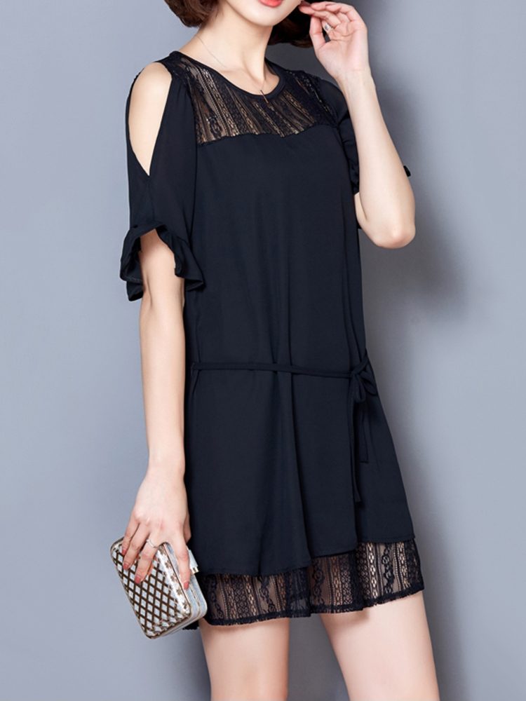 Elegant Women Lace Patchwork Hollow Off Shoulder Chiffon Dress