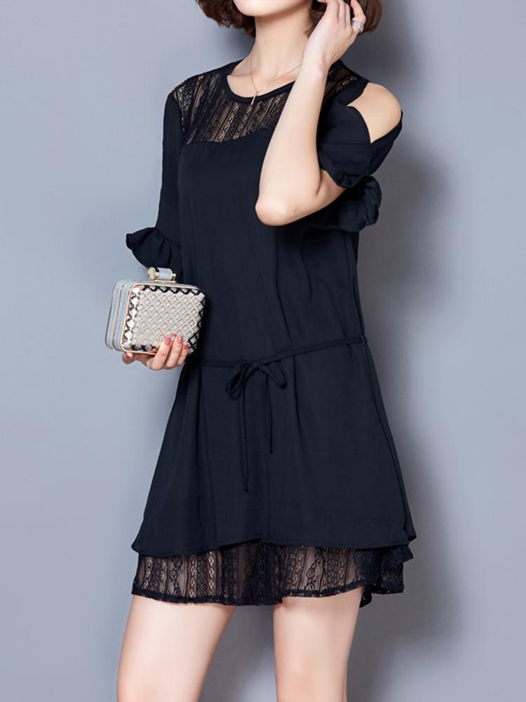 Elegant Women Lace Patchwork Hollow Off Shoulder Chiffon Dress