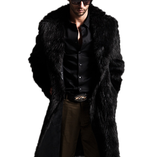 Large lapel Imitation Fur Jacket Warm Furry Overcoat for Men