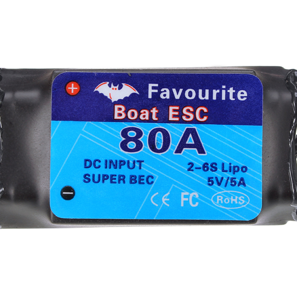 FVT BOAT080 80A Brushless Senseless BOAT ESC Speed Controller Waterproof 5V/5A RC Boat Part