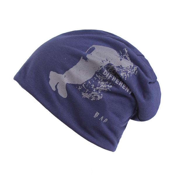 Mens Unisex Cotton Printed Beanies Hats Outdoor Autumn Warm Skullies Hat