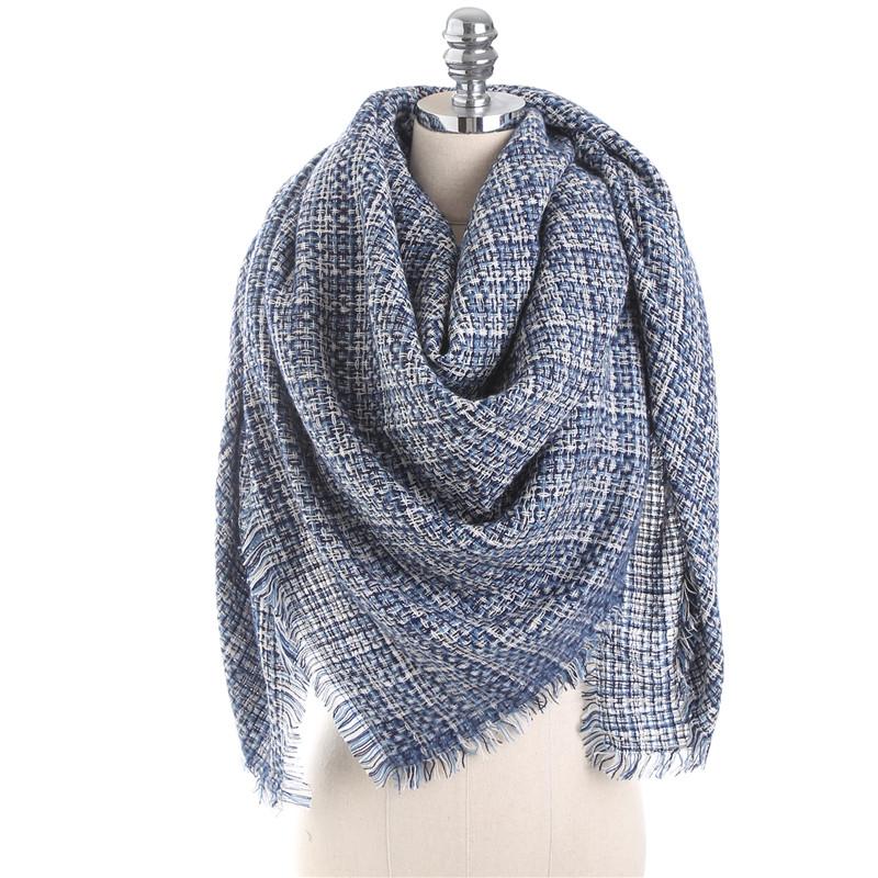 140CM Winter Warm Scarf For Women Plaid Neck Large Scarf Wrap Shawl
