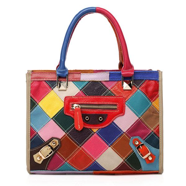 Women Genuine Leather Patchwork Fashion Shoulder Bag Handbag