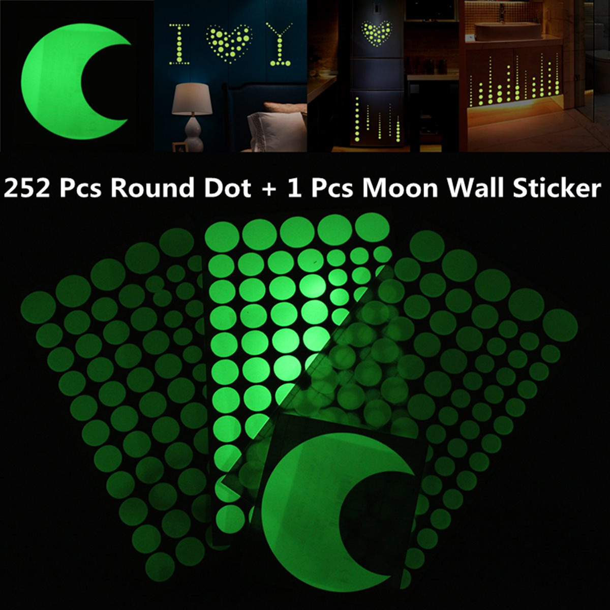 253× Round Dot Moon Wall Sticker Glow In The Dark Luminous Home Decal Kids Gift