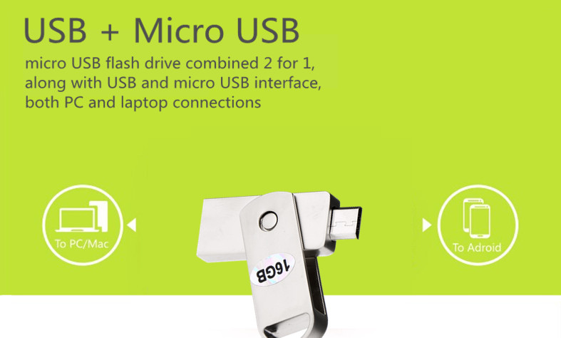HSTD-154 USB to Micro USB 64G 32G 16G Flash Drives U Disk For PC and OTG Smartphone