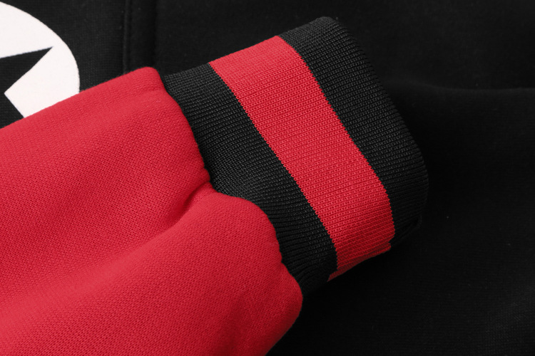 Fashion 3D Letter Printed Stitching Hoodies Winter Men's Casual Zip Up Sports Cashmere Coat Tops