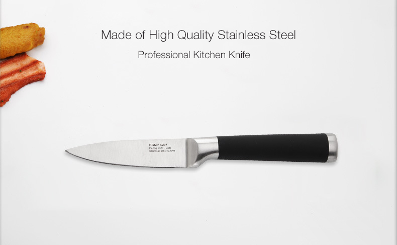 Portable Black High Quality Stainless Steel Knife Fruit Easy Cutting Paring Sharp Kitchen Knife