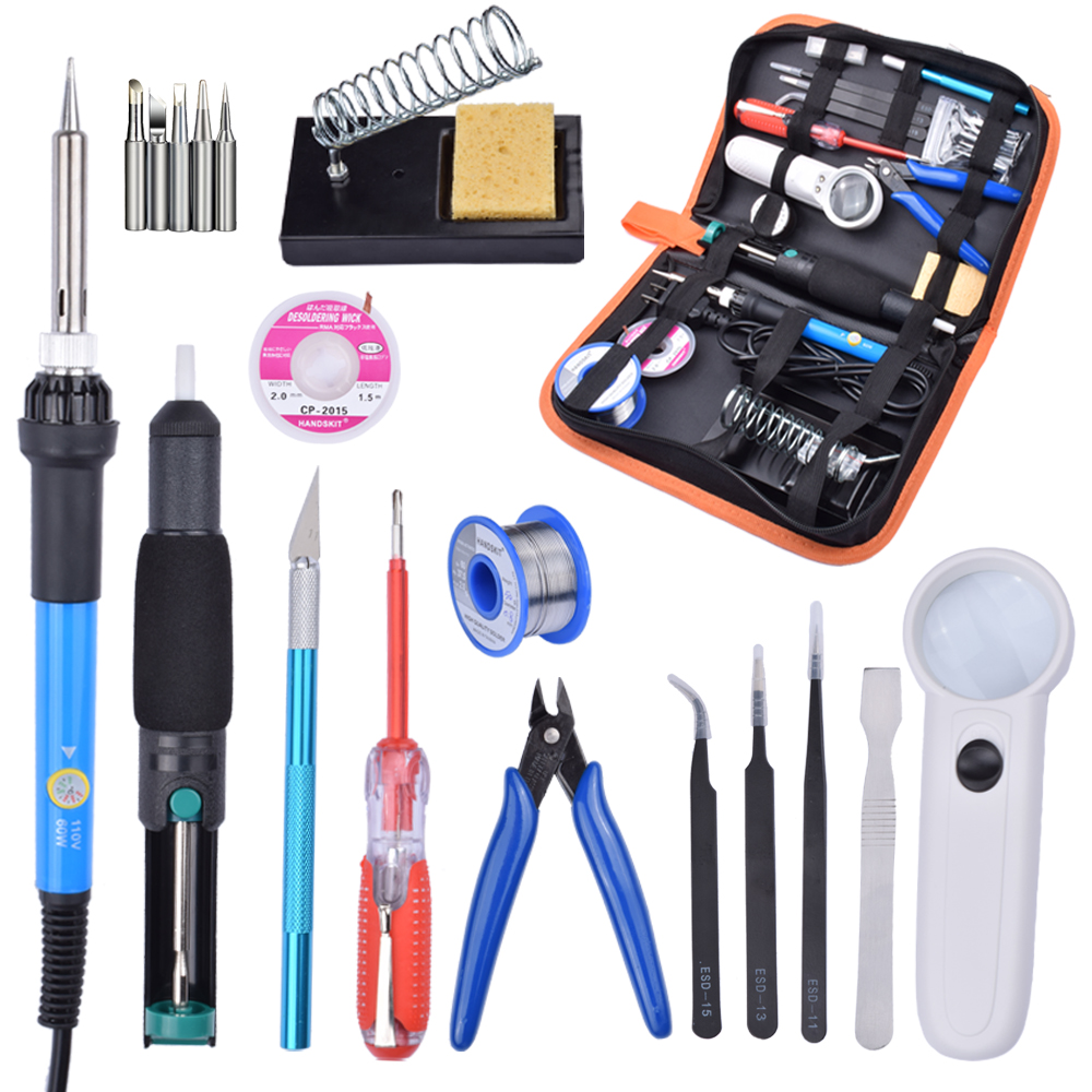 60W 220V Adjustable Temperature Soldering Iron Tools Kit with Desoldering Pump Soldering Iron Stand