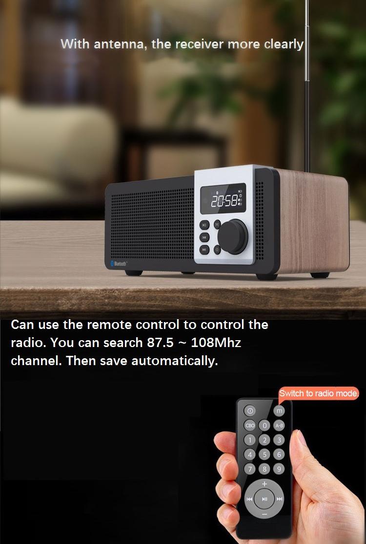 Loci D26 Wood Wireless bluetooth Speaker Dual Units LED Display Dual Alarm Clock FM Radio Subwoofer