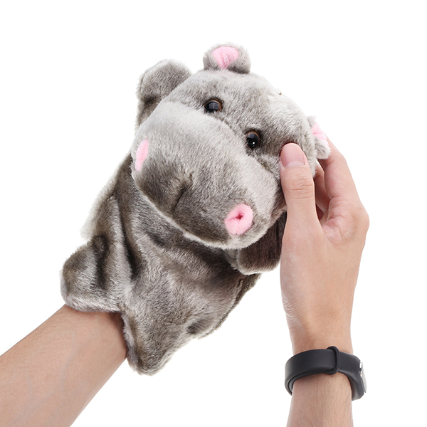 27cm Baby Plush Toys Cute Cartoon Hippo Hand Puppet Baby Kids Doll Plush Toy Hand Puppets