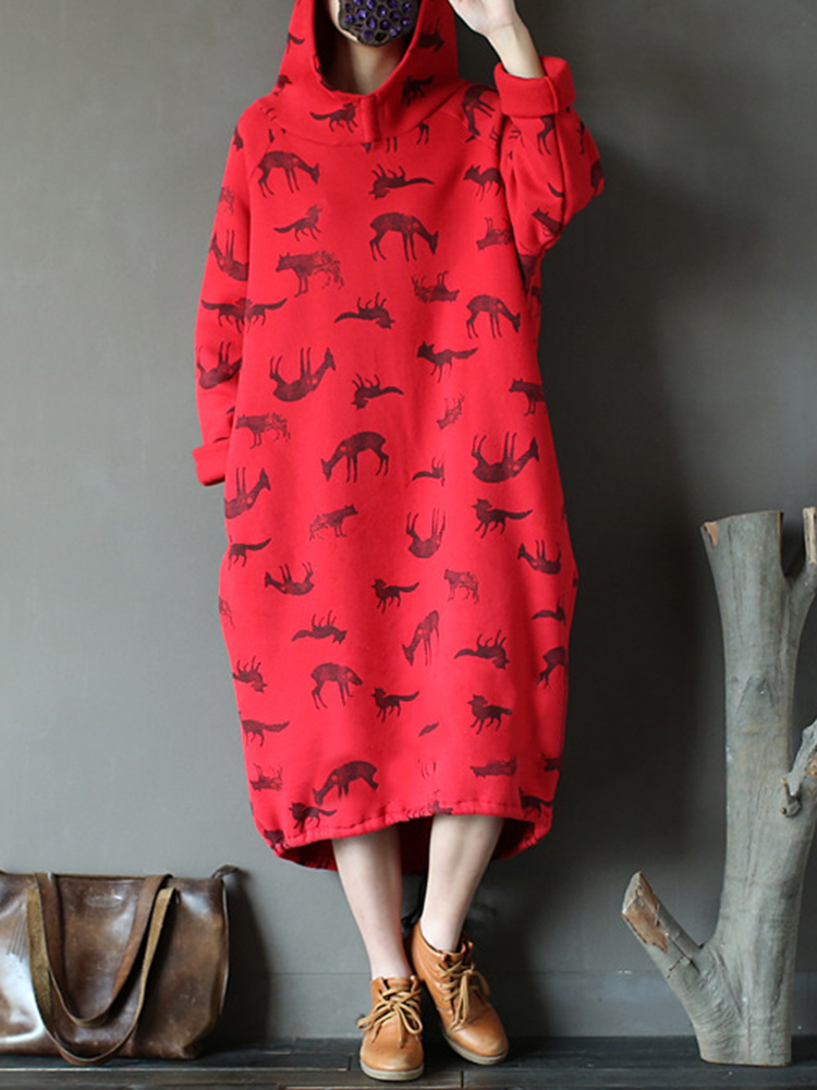 Women's Animal Print Long Hoodies Casual Dress