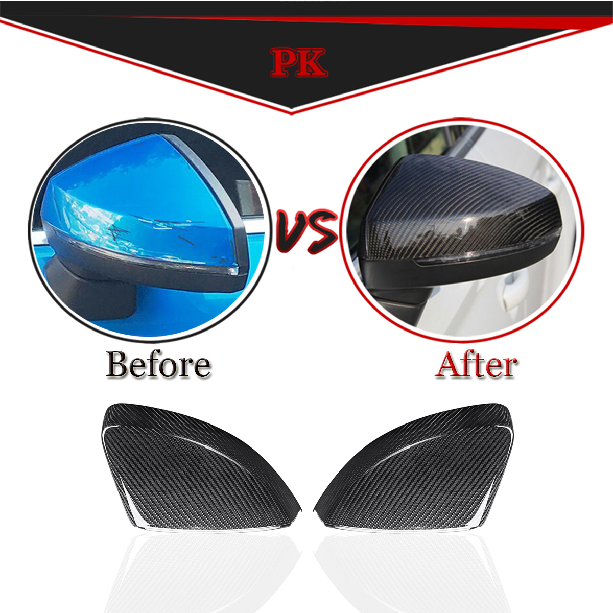 Real Carbon Fiber Side Car Mirror Replacement Caps Cover for AUDI A3 S3 RS3