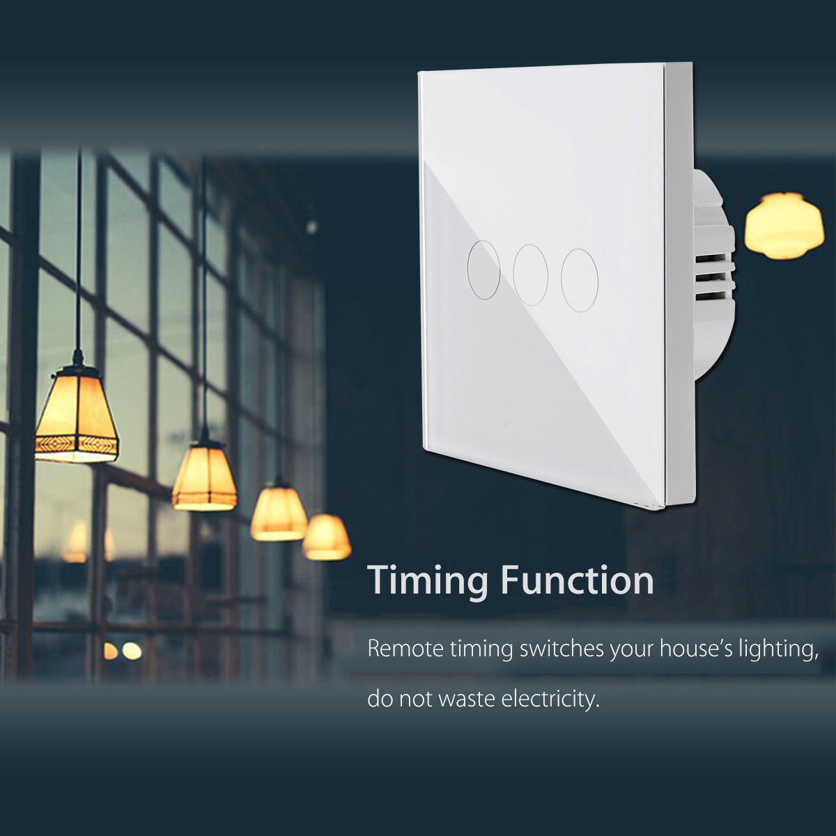1/2/3 Gang Smart WIFI Wall Touch Switch Panel Work with Amazon Alexa/Google Home/IFTTT