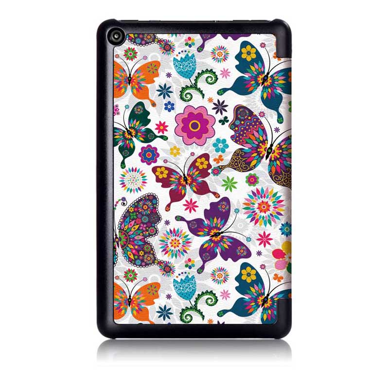 Tri-Fold Pringting Tablet Case Cover for New F ire HD 7 2019-Butterfly
