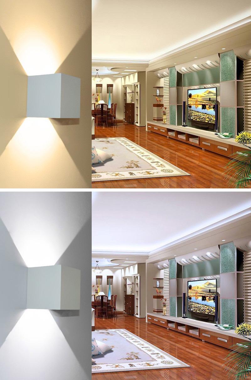 Loskii DX-CT1 AC 220V Waterproof 7W Aluminum Cube COB LED Wall Lamp Light Modern Home Lighting Indoor Outdoor Decoration Light