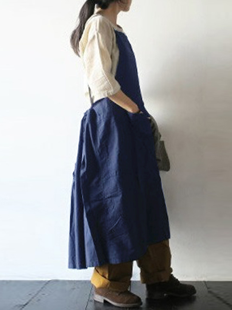Plus Size Retro Japanese Style Cotton Apron Dress