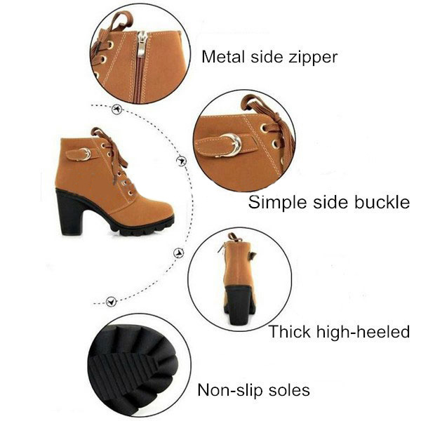 Women Girl High Top Heel Ankle Boots Winter Pumps Lace Up Buckle Suede Shoes