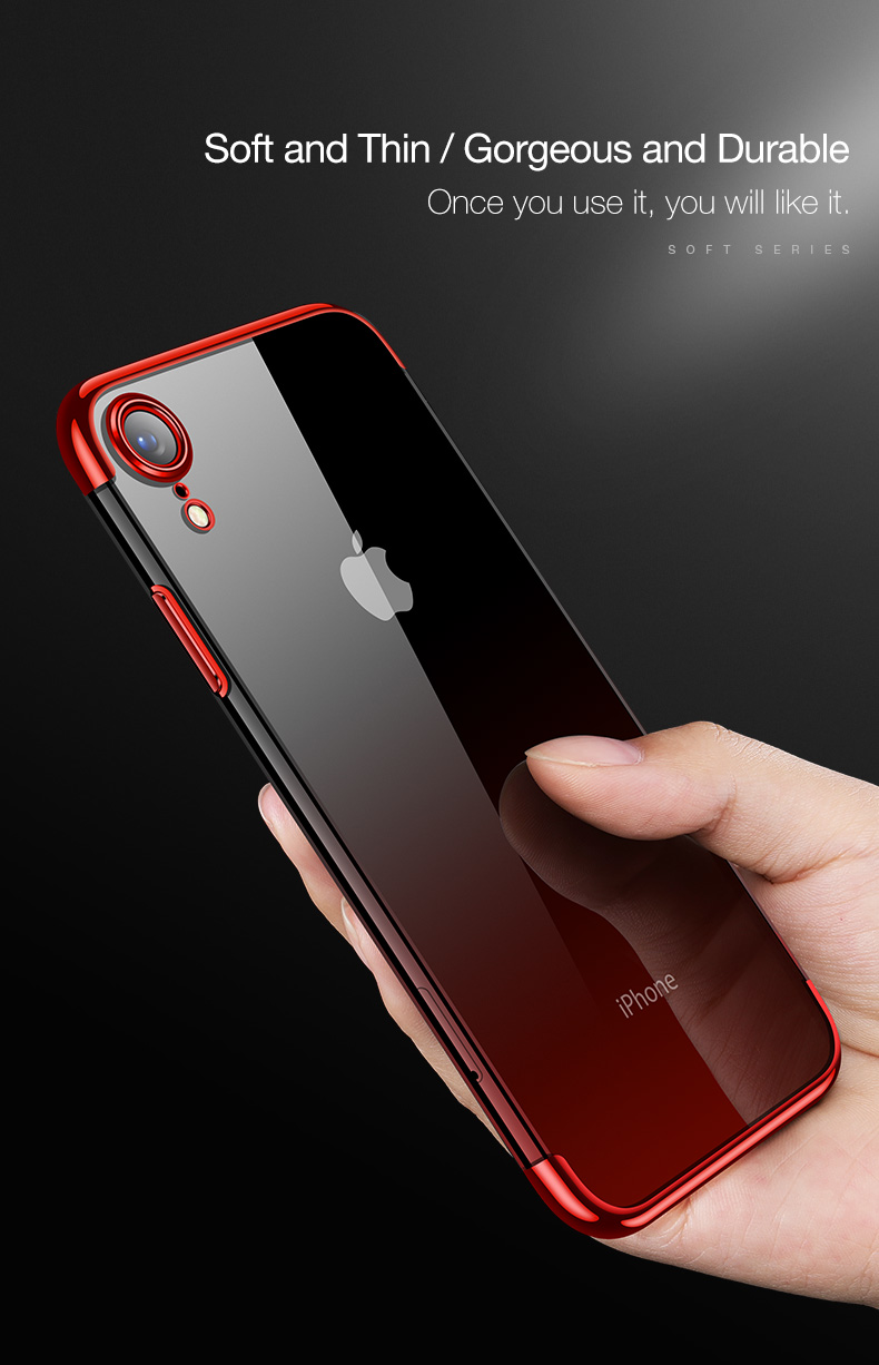 Cafele Gradient Plating Clear Transparent Soft TPU Back Cover Protective Case For iPhone XR