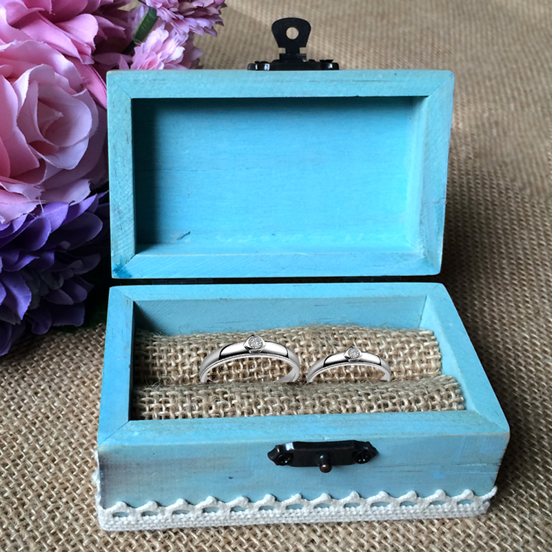 Wooden Mediterranean Anchor Rectangular Ring Box - Sea Blue Wooden Ring Bearer Box
