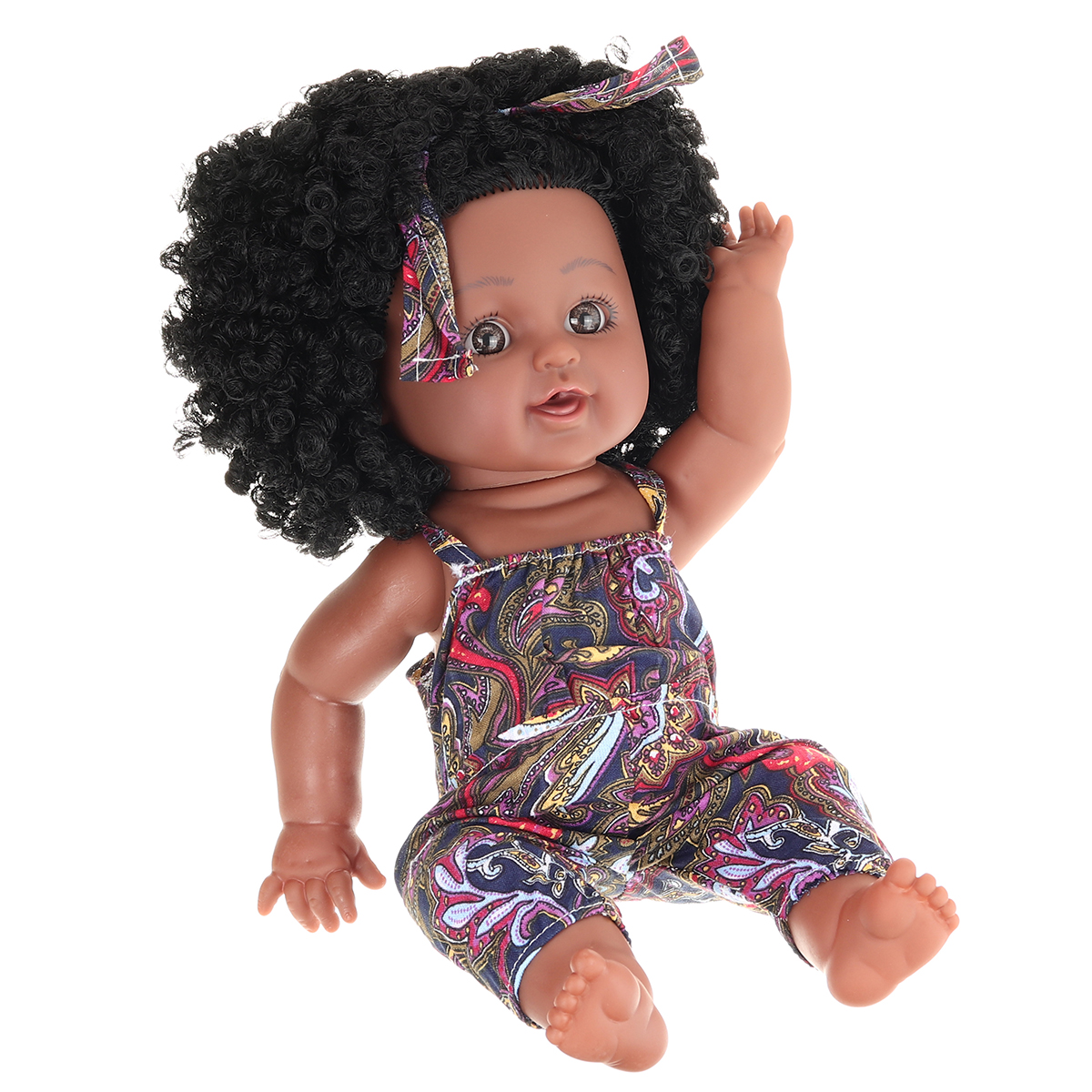 12Inch Soft Silicone Vinyl PVC Black Baby Fashion Play Doll Rotate 360° African Girl Perfect Reborn Doll Toy for Birthday Gift - Photo: 5