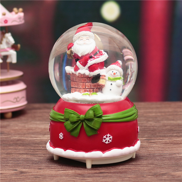 18CM Christmas Globe Santa Music Box Snowing Bow-knot Rotating Crystal Ball Decor Gift