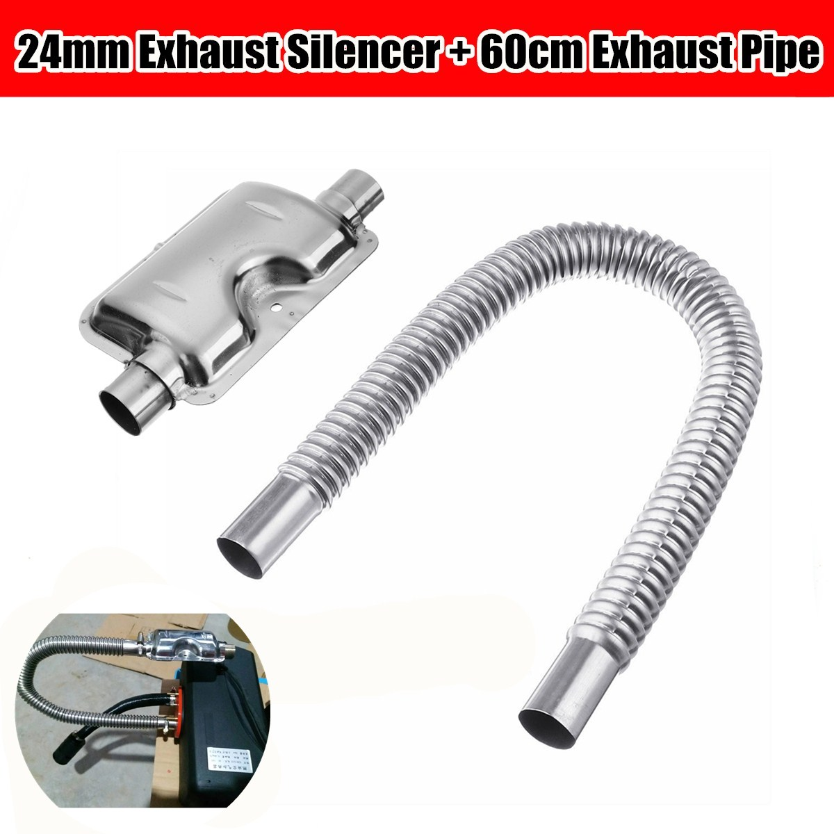 24mm Air Diesel Heater Exhuast System Stainless Steel Exhuast Pipe Caravan RVs'