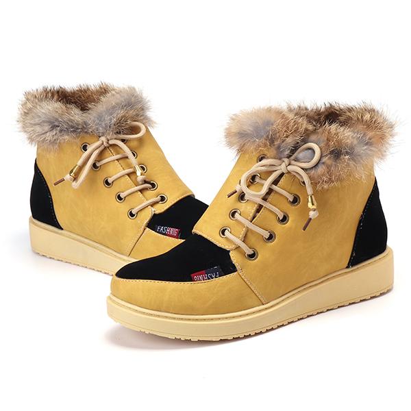 Зима Lace Up Flats Fur Lining Держите теплый хлопок Ankel Snow Ботинки