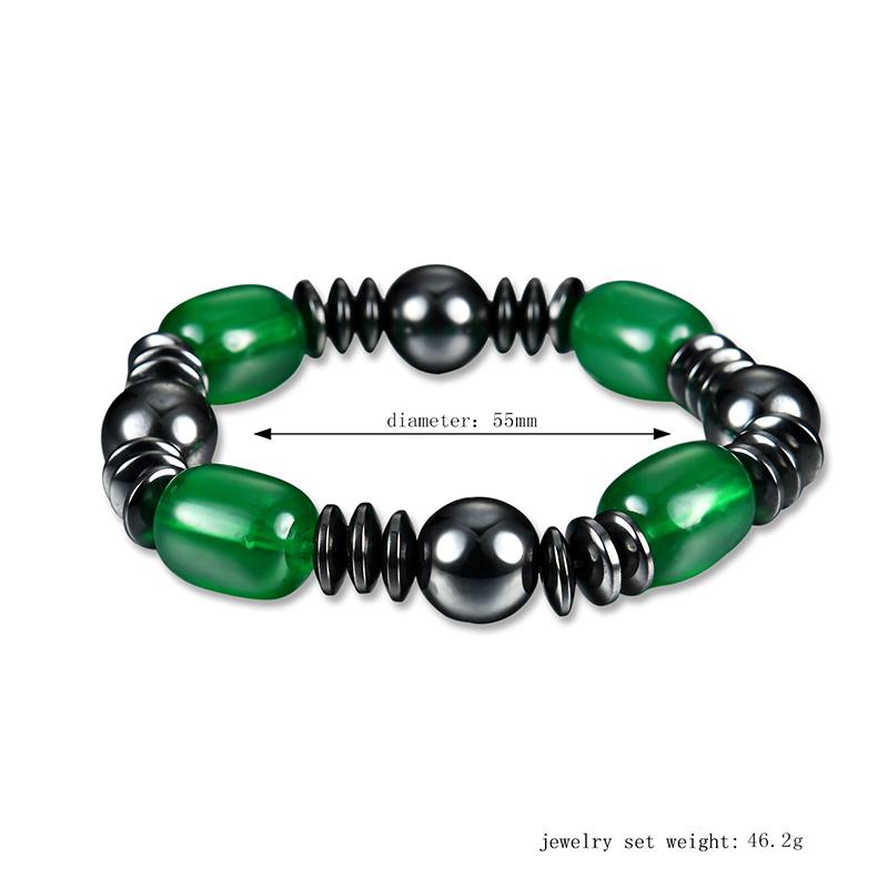 Trendy Green Atificial Agate Chain Magnet Stone Bracelet Healing Jewelry for Women Men