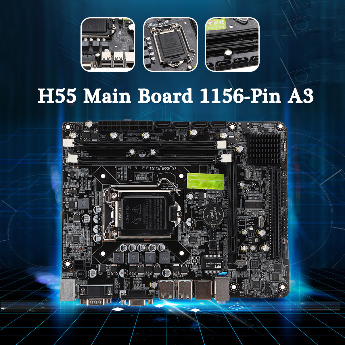 Computer Motherboard H55 Main Board 1156-pin A3 for Intel H55 LGA 1156 CPU