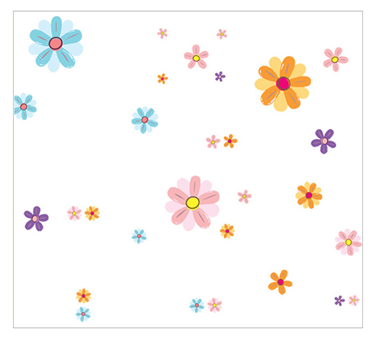Creative DIY Color Flower Wall Sticker Children's Room Watercolor Flower Decorative Painting