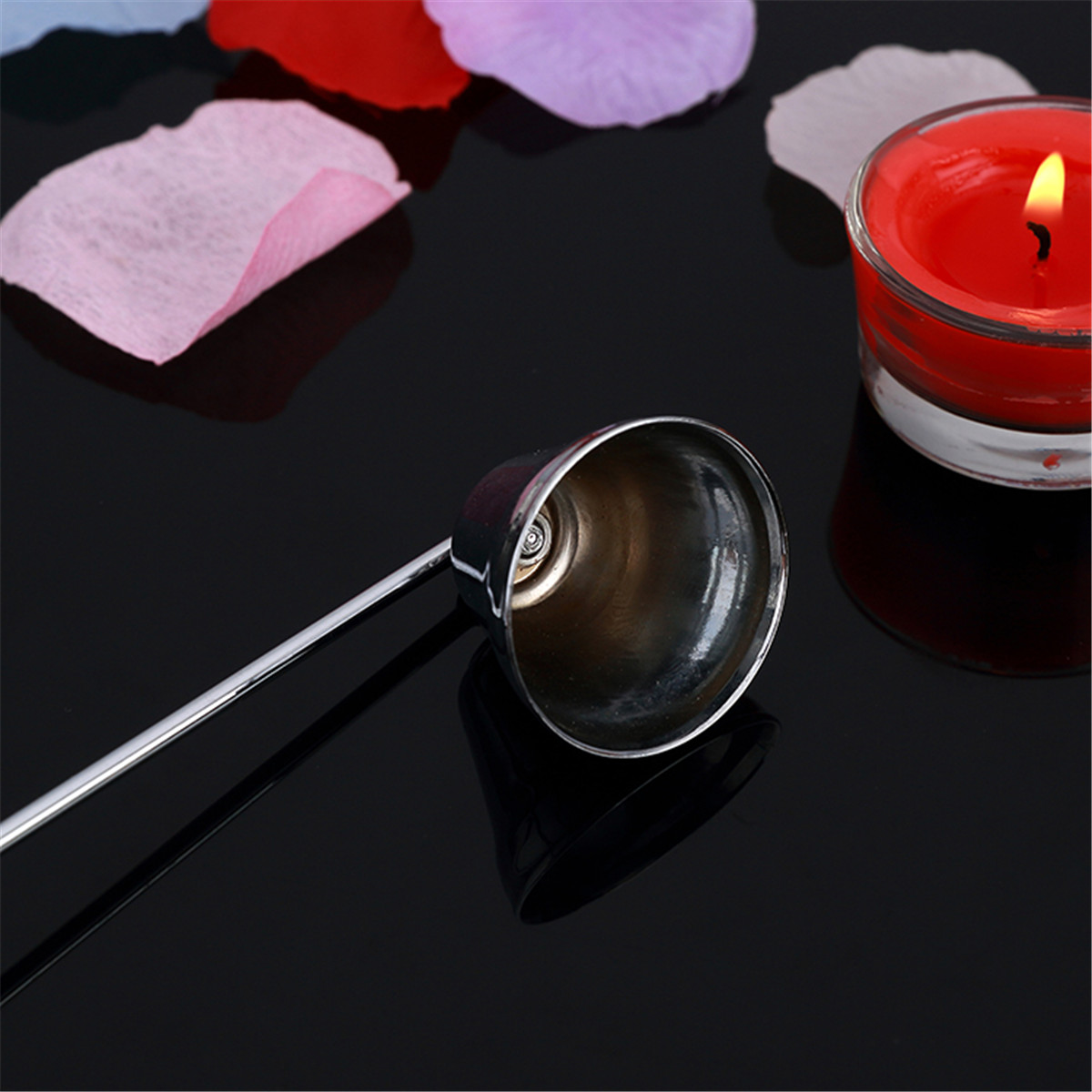 Stainless Steel Candle Snuffer Silver Long Extinguisher for Tea Light Candle Tool