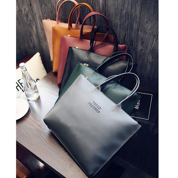 Simple Pure Color Retro PU Handbags For Women
