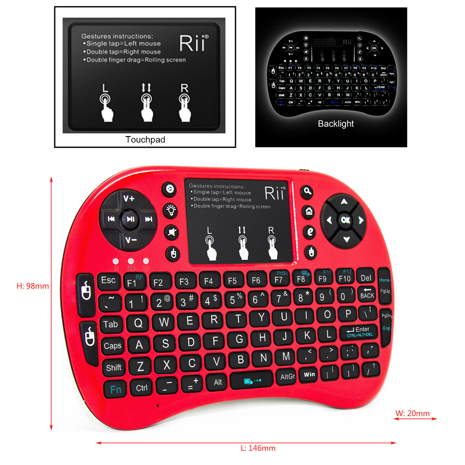 Rii i8+ Red Mini Wireless 2.4G Backlight Touchpad Air Mouse Keyboard for PC Android Smart TV Box