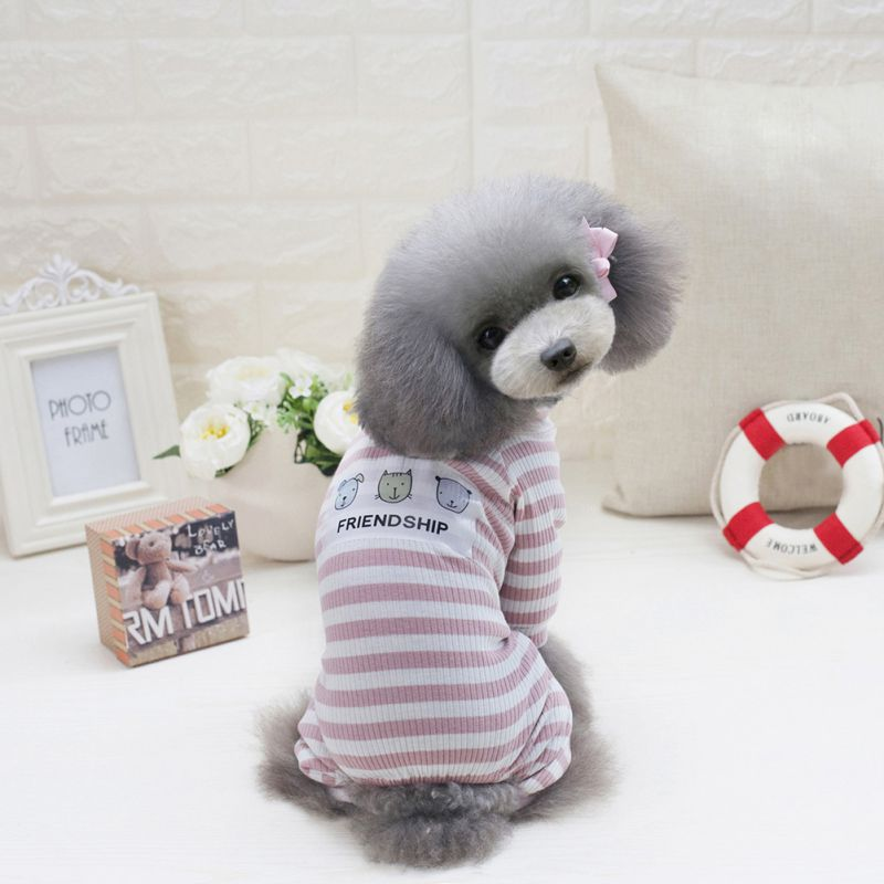 Pet T-shirt Stripes Dog Jumpsuit Pajamas Dog Coats Dog Clothes Pet Apparel