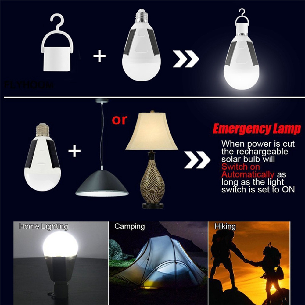 12W Solar Powered E27 LED Rechargeable Light Bulb Tent Camping Emergency Lamp with Hook
