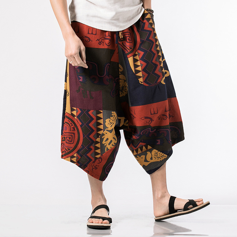 Men's Casual Ethnic Style Printed Cotton Harem Pants