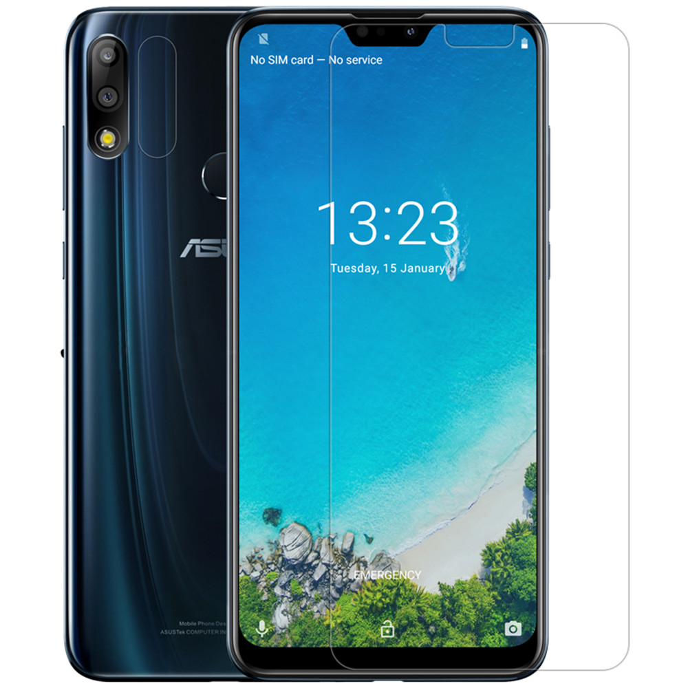 NILLKIN Anti-explosion Tempered Glass Screen Protector + Phone Lens Protective Film for ASUS Zenfone Max Pro (M2) ZB631KL