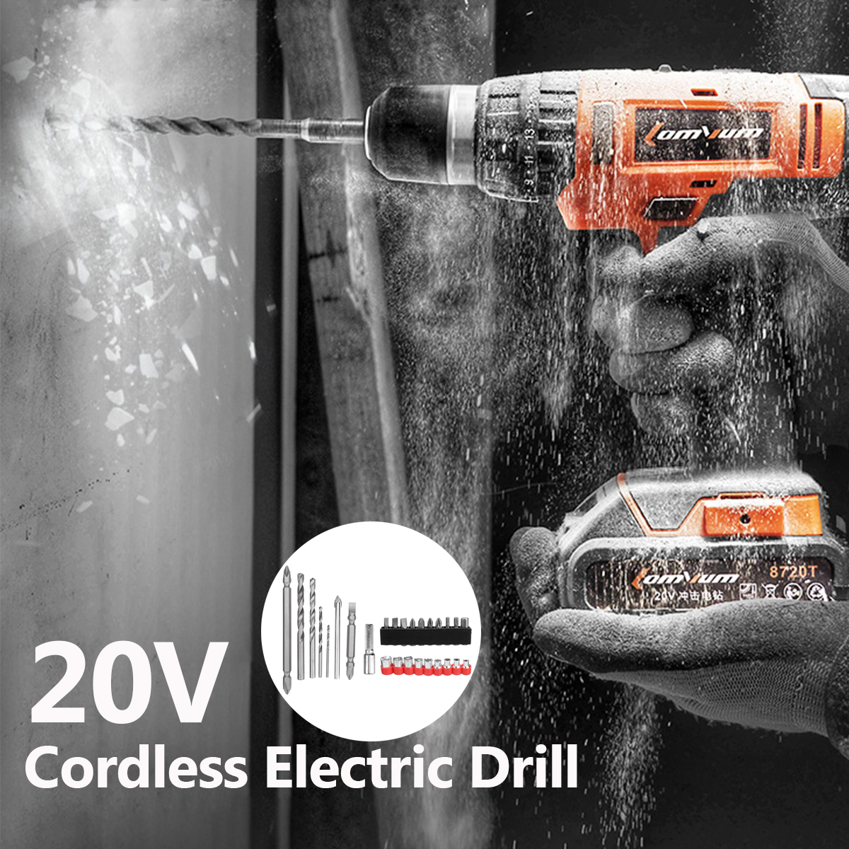 Lomvum 20V Rechargeable Cordless Electric Impact Drill Power Screwdriver with LED Light