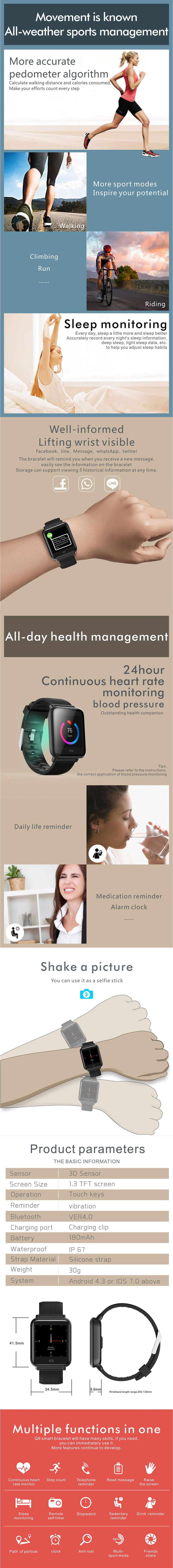 Bakeey Q9 Continuous HR Blood Pressure Monitor Multi-sport Mode Color Dials IP67 Smart Watch