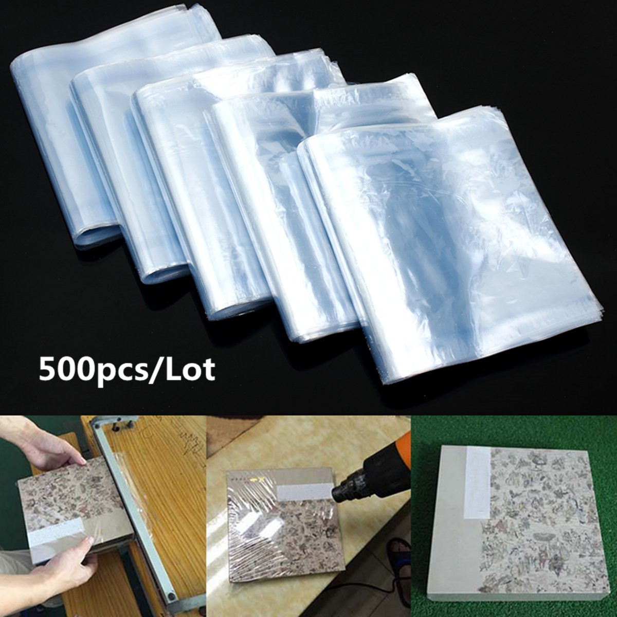 500Pcs PVC Heat Shrink Wrap Bags Film Clear Flat Poly Storage Bag Soap Candles Packaging 15×27cm